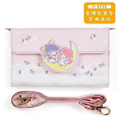 Sanrio 雙星仙子PU皮革智慧型手機套附背帶M(粉彩)