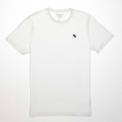 A&F 小麋鹿 藍色刺繡 男款 圓領 素面短T(白色-S)
