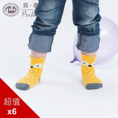 貝柔趣味立體止滑童短襪-森林狐狸(6雙組)