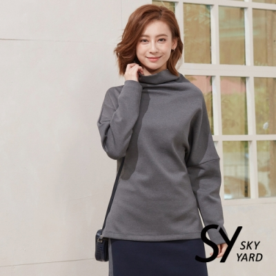 【SKY YARD 天空花園】落肩立領造型上衣-灰色