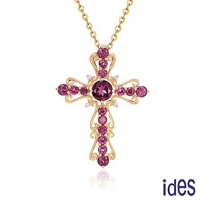 ides愛蒂思 歐美設計彩寶系列石榴石十字架項鍊/玫瑰金色