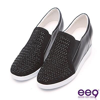 ee9 閃耀星光進口牛皮鑲嵌亮鑽內增高休閒鞋 黑色