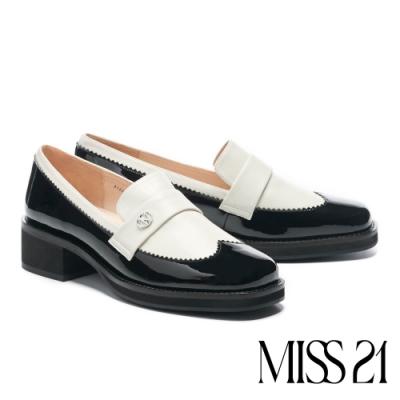 高跟鞋 MISS 21 俏皮鋸齒心型拼接方頭粗高跟鞋-黑白