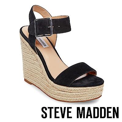 STEVE MADDEN-SANTORINI 一字草編楔型高跟涼鞋-黑色