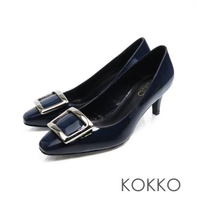 KOKKO - 重溫初心大方扣真皮方頭高跟鞋-深藍