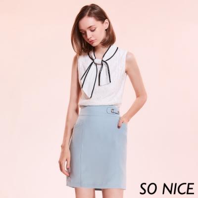 SO NICE時尚造型釦西裝短裙