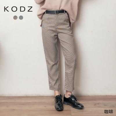 東京著衣-KODZ 復古英倫風細格紋附皮帶西裝褲-S.M.L(共二色)