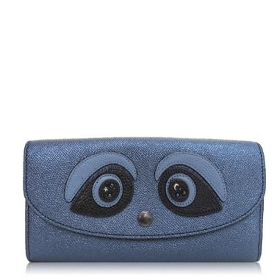COACH 十字紋皮革 / 信封式長夾(立體熊貓/金屬藍)