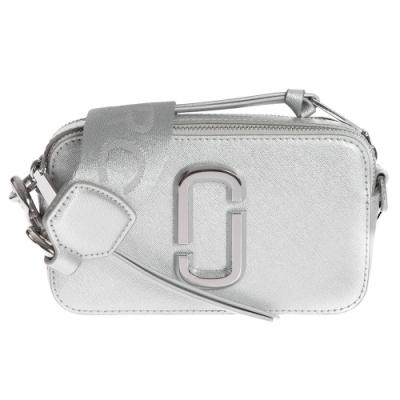 MARC JACOBS Snapshot防刮牛皮相機包/斜背包-金屬銀