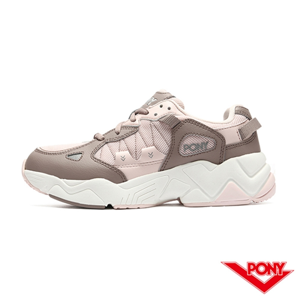【PONY】MODERN 3系列 車線撞色 復古慢跑鞋 電光鞋 女鞋-粉紫