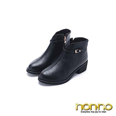 nonno 諾諾 高雅時尚側拉鍊短跟短靴 黑