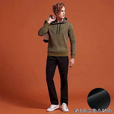 GIORDANO 男裝內刷毛腰鬆緊抽繩保暖防風長褲-08 黑色