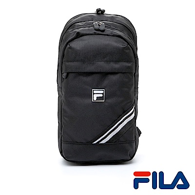 FILA中性時尚質感側斜單肩包(時尚黑)