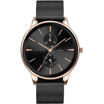 STRAND 丹麥海之星多功能簡約腕錶 / 玫瑰金藍-42mm(S703GMVBMB)