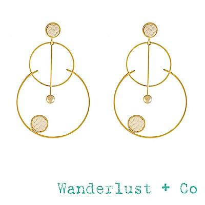 Wanderlust+Co 澳洲品牌 象牙白編織海洋度假耳環 金色大耳環 ARLO