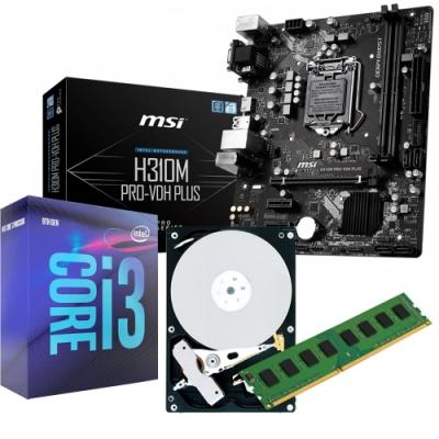 MSI H310M PRO-VDH主機板 +I3-9100 +8G +1TB 組合