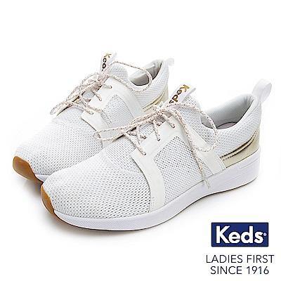 Keds STUDIO FLAIR 完美包覆綁帶輕量休閒鞋-白色