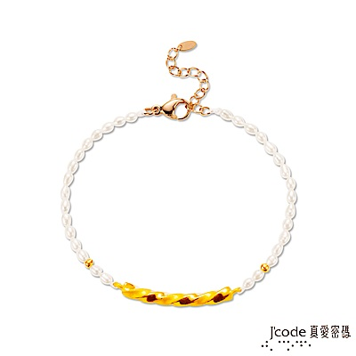 J'code真愛密碼 纏綿黃金/水晶/天然珍珠手鍊