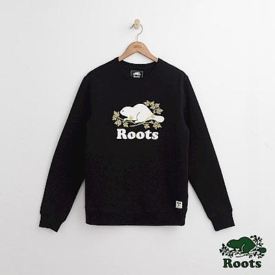 Roots 男裝- 周年系列 庫柏楓葉圓領上衣-黑