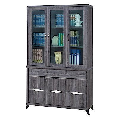 綠活居 奧達4尺木紋多功能書櫃/收納櫃組合(上+下座)-121x41x206cm-免組