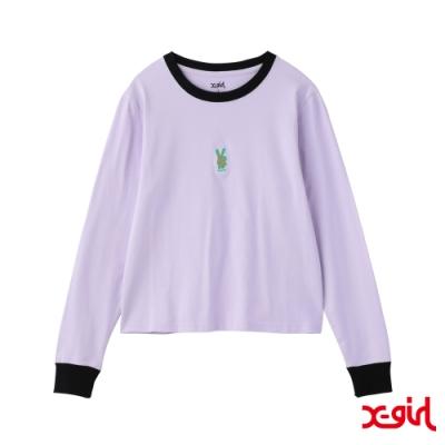 X-girl BUNNY EMBROIDERY L/S BABY TEE長袖T恤-紫