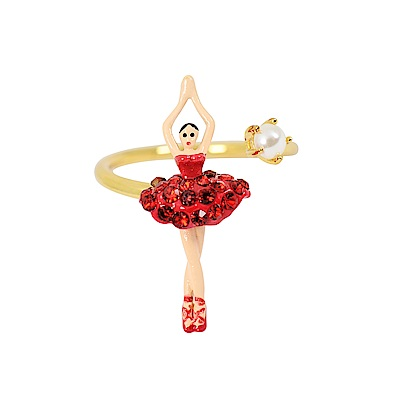 Les Nereides 優雅芭蕾舞女孩系列 白色珍珠鑲鑽舞者可調式戒指 紅色