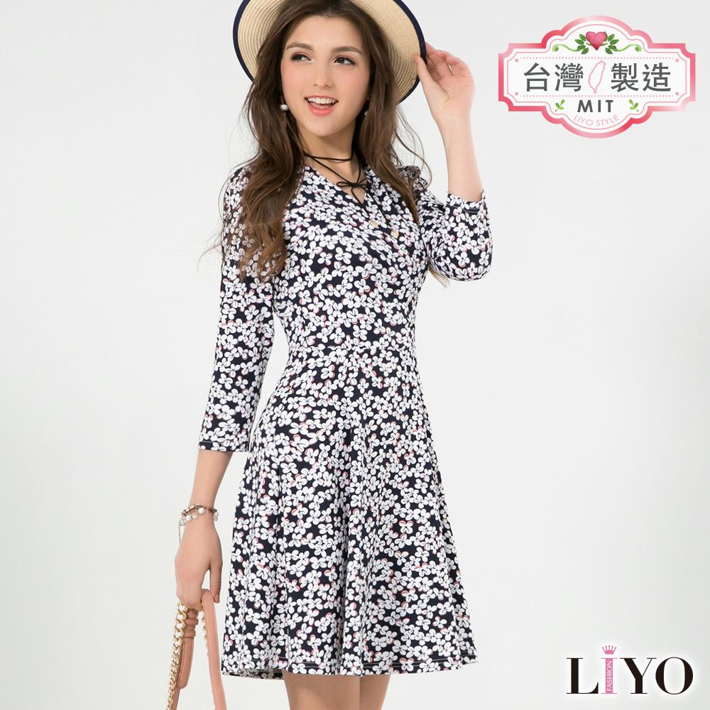 LIYO理優MIT優雅小碎花名媛V領荷式修身傘狀顯瘦洋裝