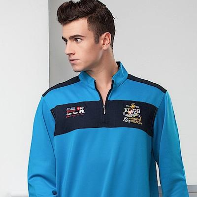 歐洲貴族oillio 長袖T恤 雙色拼接 防風布料 藍色