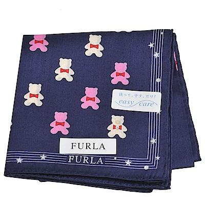FURLA 可愛小熊圖騰品牌字母LOGO圖騰帕領巾(深藍色)
