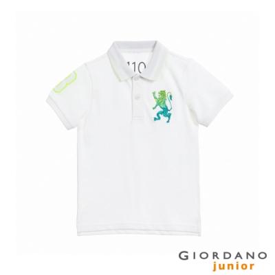 GIORDANO   童裝勝利獅王漸層刺繡彈力萊卡POLO衫 - 81 標誌白