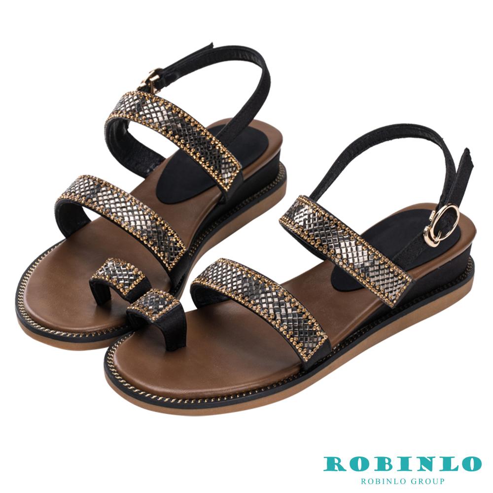 Robinlo 波希米亞亮鑽穿趾涼鞋 黑色