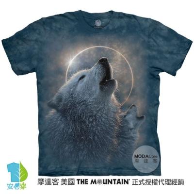 摩達客-美國進口The Mountain 日蝕狼嚎 純棉環保藝術中性短袖T恤