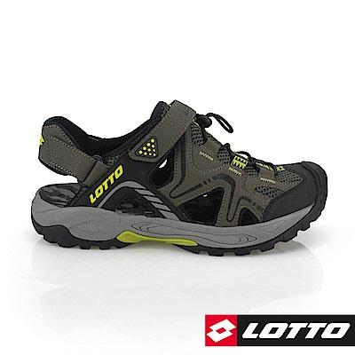 LOTTO 義大利 男 護趾排水運動涼鞋(軍綠)