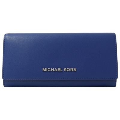 MICHAEL KORS Jet Set金屬LOGO牛皮釦式長夾(藍)