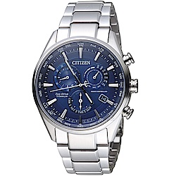 CITIZEN星辰時尚電波對時鈦金屬廣告款腕錶(CB5020-87L)-藍色