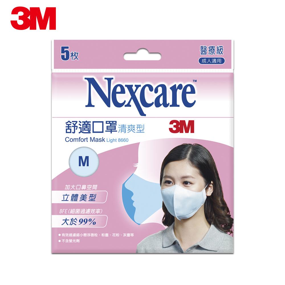 3M Nexcare清爽型舒適口罩 (M尺寸 / 5片包)