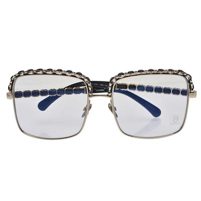 CHANEL 經典皮革穿繞方框平光眼鏡(透明)