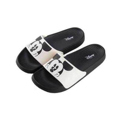 迪士尼親子鞋 米奇 大頭女段休閒拖鞋-白黑