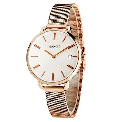 MANGO 經典米蘭帶腕錶-玫瑰金/32mm