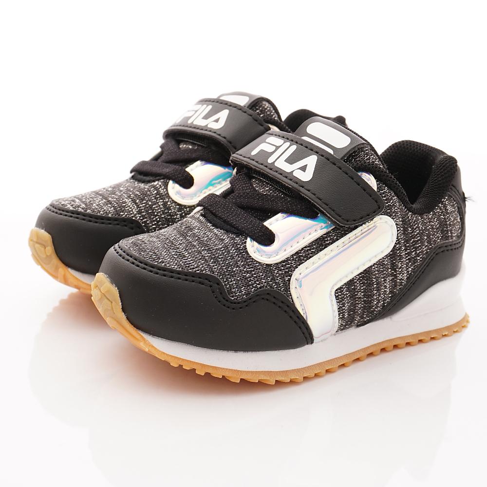 FILA頂級童鞋 針織止滑運動款 FO51T-091黑(中小童段)
