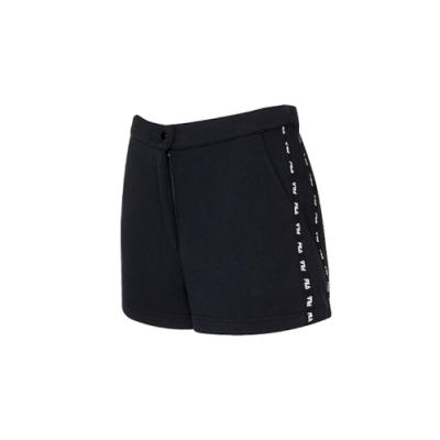 FILA #架勢新潮 女針織短褲-黑色 5SHV-1437-BK
