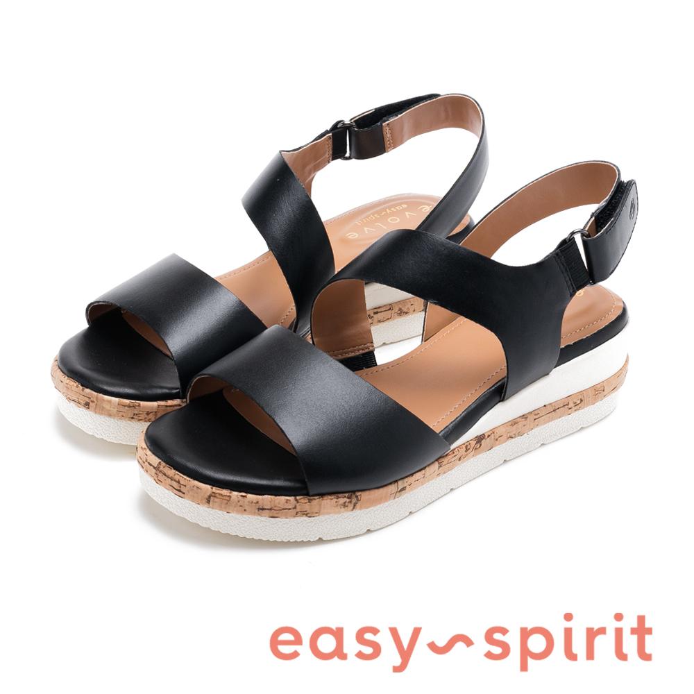 Easy Spirit evKEA-時尚真皮寬帶軟木塞楔型涼鞋-黑色