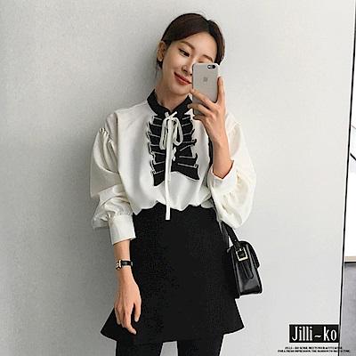Jilli-ko 韓版宮廷風拼接襯衫-白
