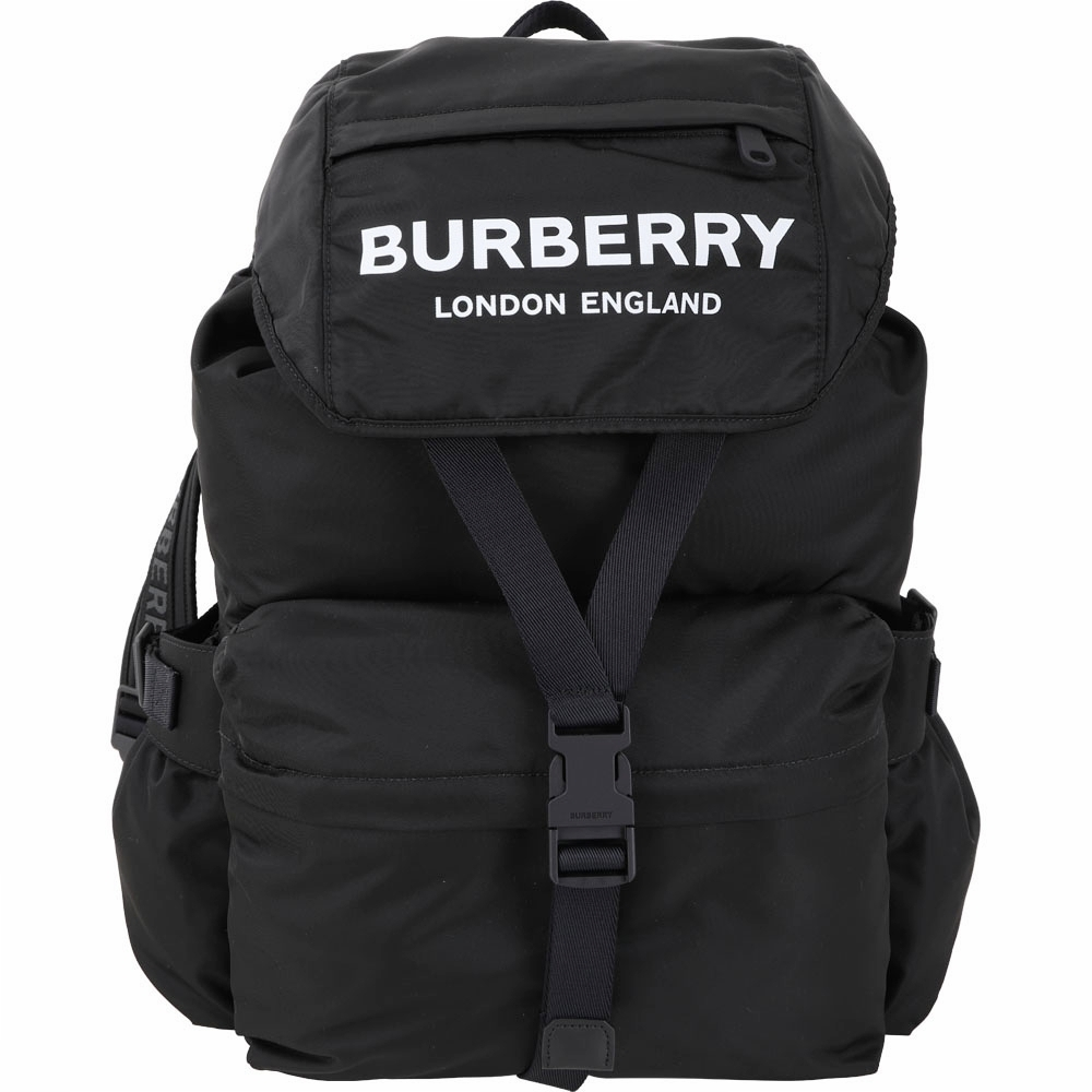 BURBERRY 大型 Logo徽標印花尼龍後背包(黑色)