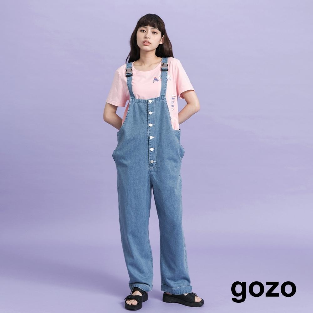 gozo-扣環牛仔吊帶寬褲-(藍色)