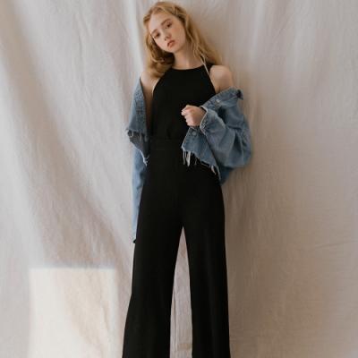 AIR SPACE LADY 慵懶簡約羅紋背心寬褲套裝(黑)