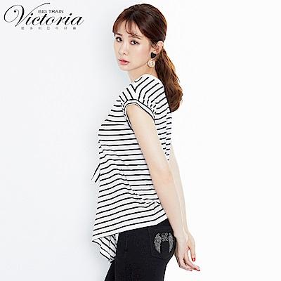 Victoria雙面穿不規則下襬變化短袖T-女-白底藍條