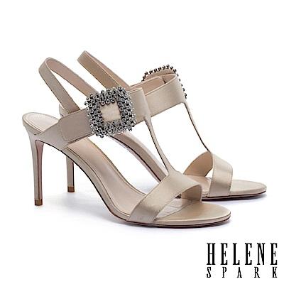 涼鞋 HELENE SPARK 優雅迷人璀璨晶鑽方釦繫帶高跟涼鞋-金