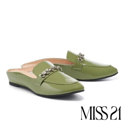 拖鞋 MISS 21 氣質小文青鏈條全真皮低跟穆勒拖鞋-綠
