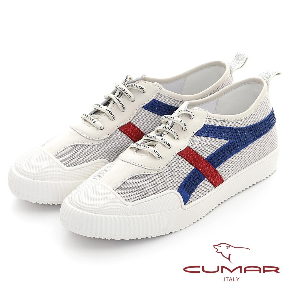 【CUMAR】真皮拼接異材質簡約線條鑽飾休閒鞋-米